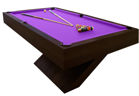 The Houdini pool table in dark wood with purple cloth
