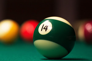 American pool balls on the Houdini table