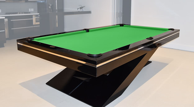 The Olympus pool table in Black with Green cloth