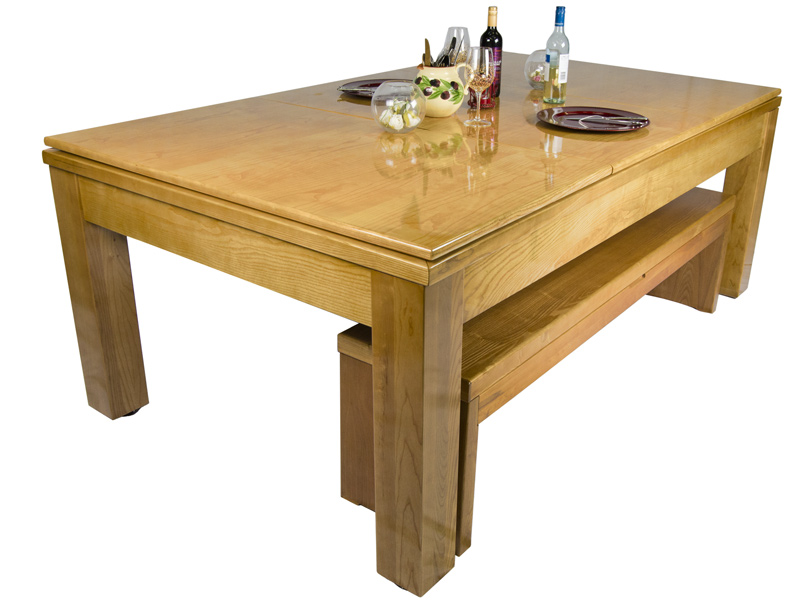 The Precision oak pool dining table dressed for dinner