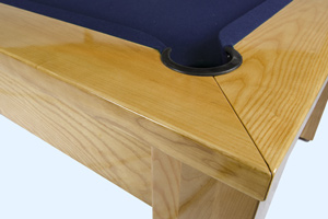 Close-up of the oak grain on the Precision pool dining table