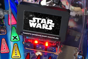 The screen in the playfield of the Stern Star Wars Pro pinball machine