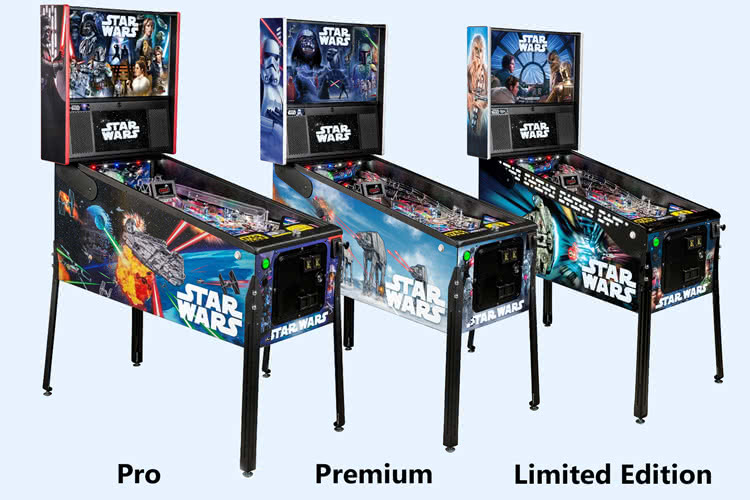 The three models of the Stern Star Wars Pro pinball machine