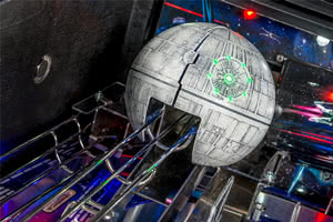 The Death Star toy on the Stern Star Wars Premium pinball machine