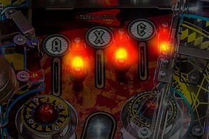 The LED lights in the AC/DC Vault Edition pinball playfield