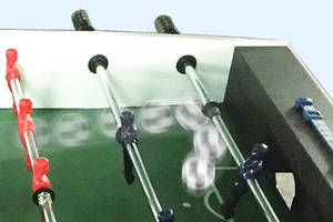 Raised corners on the Free Kick football table playfield