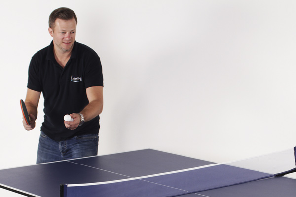 The Strikeworth table tennis bat in play