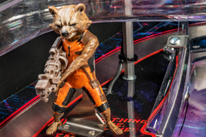 The Rocket toy on the Guardians of the Galaxy pinball machine