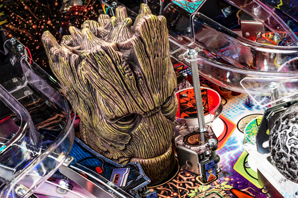 Groot head toy on the Guardians of the Galaxy LE pinball machine