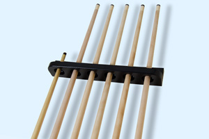 A selection of pool cues in a rack