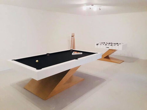 The Zen football table and pool table together