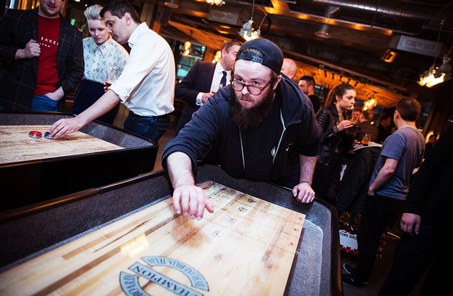 A game of shuffleboard