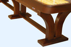 The leg braces on the Venetian shuffleboard table