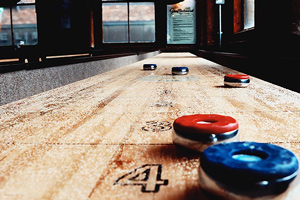 The playfield on the Championship shuffleboard table