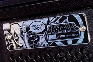 Plaque on the Deadpool LE pinball playfield