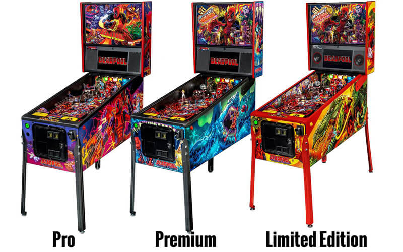 The three Deadpool pinball machine models