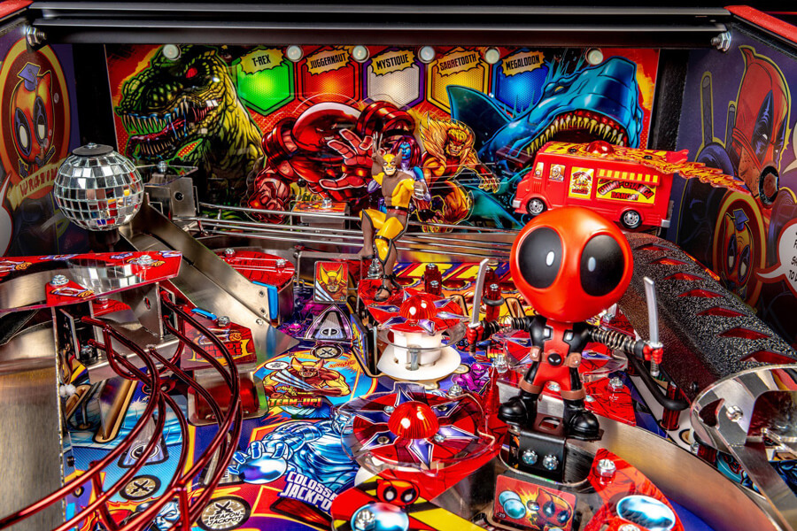 Detail of the Deadpool LE pinball playfield