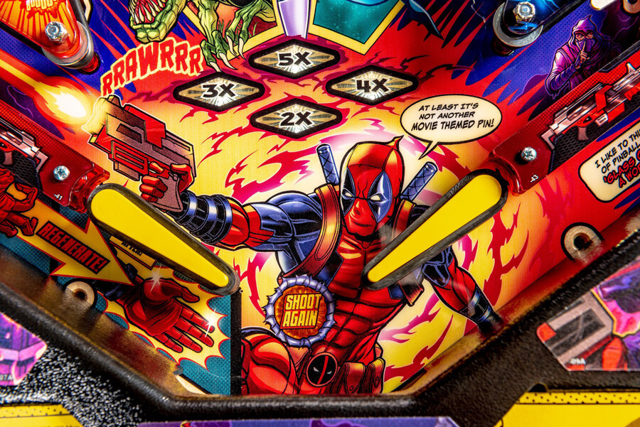 Detail of the Deadpool Pro pinball playfield