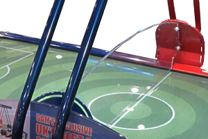 The screen on the Fast Soccer air hockey table