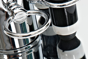 Detail of the Chrome Tower cue rack