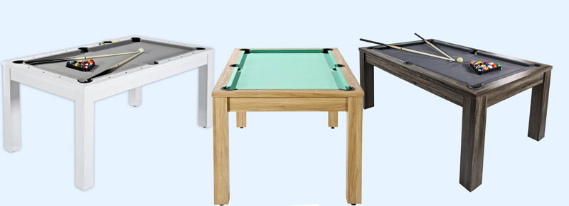 Three colours of the Pureline dining pool table
