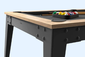 The side of a Steel slate bed pool table