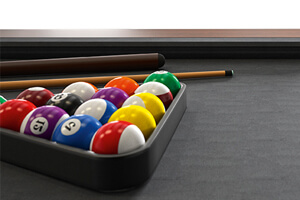 A Steel pool table with accessories