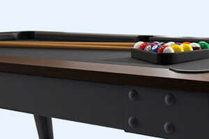 The side shot of a Steel slate bed pool table