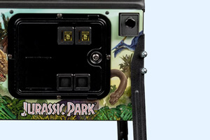 The front of a Stern Jurassic Park Pro pinball machine