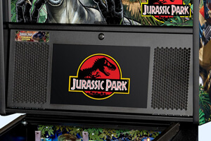 The LCD screen and speakers on the Stern Jurassic Park Premium pinball machine