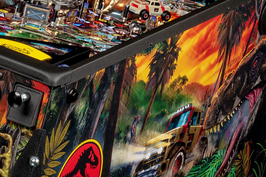 The side of a Stern Jurassic Park Premium pinball machine