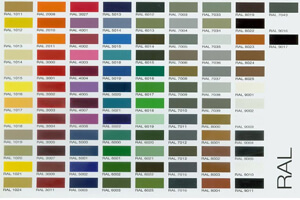 RAL colour chart for pool table finishes