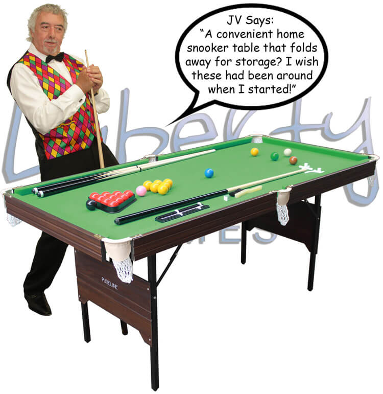 John Virgo with the Pureline folding snooker table.