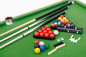 Accessories supplied with the Pureline folding snooker table.