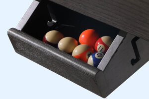 The ball drawer on the Lux Grey pool and dining table.