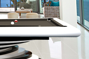 The side of an Everest Slate Bed Pool table