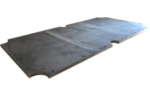 A sectional slate bed like the one in the Texas II pool table.