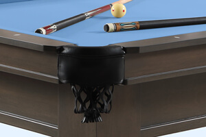 The corner pocket of the Washington II pool table.