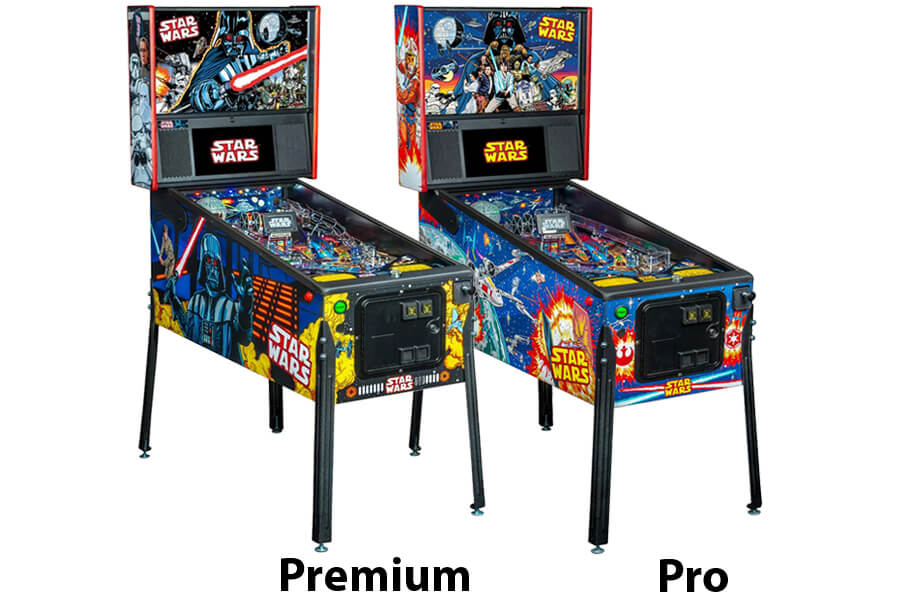 The two models of the Stern Star Wars Comic pinball machine