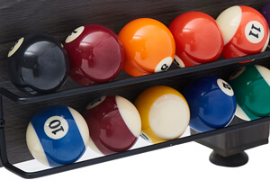 Pool balls supplied with the 7ft Multi Games & Dining Table.