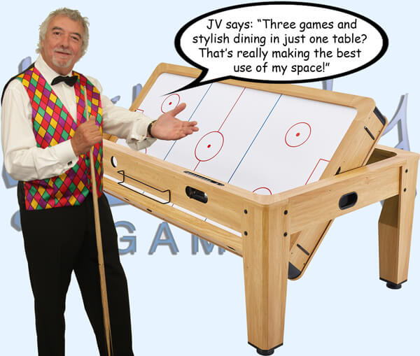 John Virgo with the Pureline rotating multi games table.