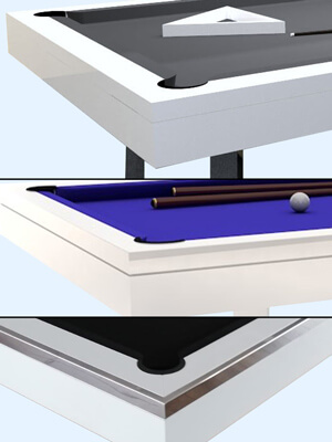 The cabinet options on the Silverlight pool table.