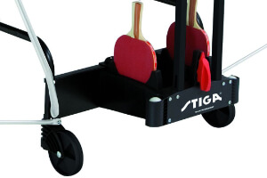 A close up of the Stiga Winner Outdoor table tennis table's bat storage.