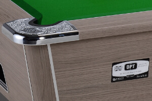 The corner cap on the Omega Professional pool table.