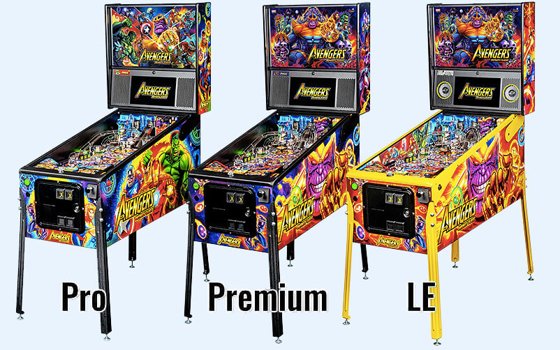 The Pro, Premium and Limited Edition Versions of The Stern Avengers Infinity Quest Pinball Machine.