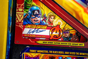 The Stern Avengers Infinity Quest Limited Edition Pinball Machine Graphics.