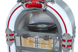 The Pureline 128V Retro Jukebox top light.