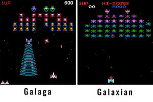 The Galaga and Galaxian games.