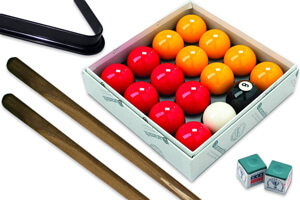 The Heywood Match pool table accessories.
