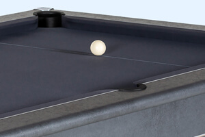 The Heywood Match slate bed pool table close up.